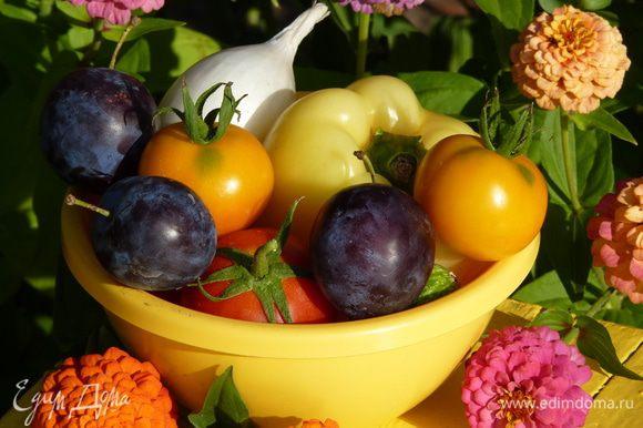 Нарезать овощи и сливы дольками. Посолить и перемешать. Для этого салата лук подойдет белый или красный, а сливы желательны мясистые и с кислинкой.