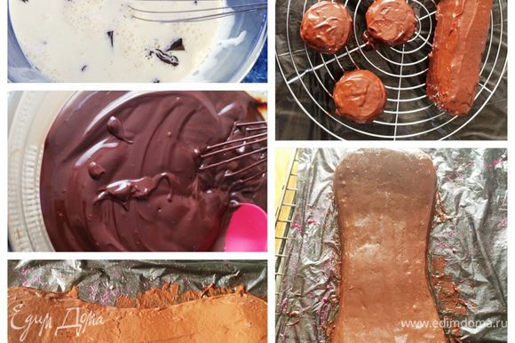 Для того, чтобы покрыть торт мастикой, нам предварительно необходимо покрыть его ганашем или масляным кремом, чтобы мастика не потекла. Ганаш готовится очень просто. Доводим сливки до кипения, но не кипятим, и выливаем на поломанный на кусочки шоколад. Оставляем минуты на 2, затем тщательно перемешиваем смесь до однородной массы. Ганаш готов. Т. к. торт у нас обмазан бисквитной крошкой, мы для начала наносим тонкий слой ганаша, как бы затирая крошки. Ставим торт в морозилку для более быстрого застывания ганаша. Так поступаем со всеми деталями торта, а также с нижним ярусом/тортом. На фото он отсутствует. Когда после первого тонкого слоя ганаш застыл, покрываем уже более толстым слоем, чтобы можно было торт выровнять. Опять отправляем в холодильник, пока ганаш не застынет. Затем при помощи горячего ножа или спатулы выравниваем наши торты, т. к. мастику надо укладывать на ровный и охлажденный торт. Т.к. мне не нужны были идеальные углы, а могли быть закругления, я даже при помощи тепла рук в некоторых местах разравнивала ганаш, особенно это касается колес, они точно круглые.