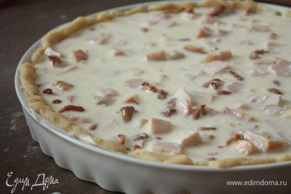 Отправьте пирог в духовку: сначала выпекайте 10 — 15 минут при 180°С, затем убавьте температуру до 150°С и выпекайте еще 30 — 40 минут до готовности. Горячий пирог достаньте из духовки и дайте ему остыть, после чего подавайте к столу. Приятного аппетита!