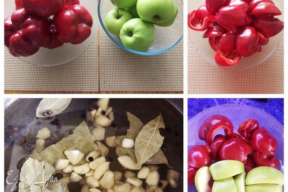Для начала подготовим банки, в которые будем закатывать гогошары с яблоками. Моем их и стерилизуем (я это делаю в духовке). Моем гогошары, чистим от семян и разрезаем на дольки. Я режу не очень мелко. Яблоки моем, чистить будем непосредственно перед тем как закладывать их в маринад, чтобы они не темнели. Подготовим маринад, все закладываем в казанок и даем маринаду закипеть. Ингредиенты для маринада привожу на 1 порцию. Количество порций зависит, от количества маринуемых гогошар. В процессе приготовления можно добавлять ингредиенты для маринада, соблюдая пропорции. Я использовала не весь маринад, так как уже закатала сколько хотела гогошар (но не фотографировала) — это просто показательный рецепт с фото. Прокипятить минут 5, чтобы все ингредиенты смешались. Для маринованных гогошар с яблоками я использую мед, кто боится кипятить мед, использует сахар. Но сразу скажу, вкус гогошар с медом все же отличается.
