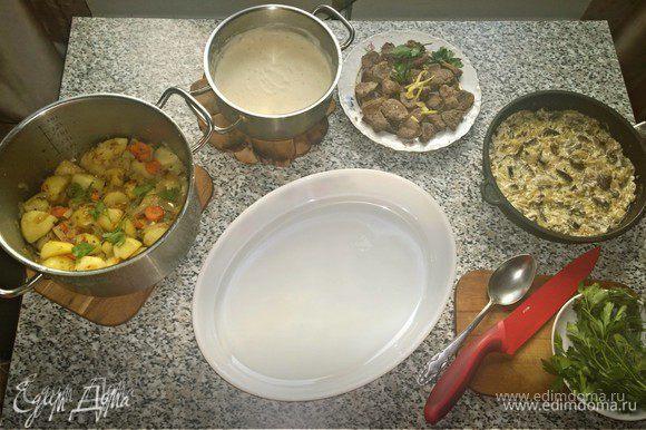 Настало время соединить все ингредиенты друг с другом. В форму выкладываем сначала картошку, потом утку, потом грибы.
