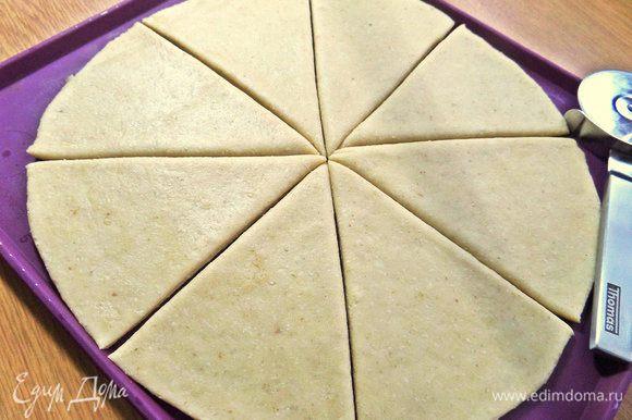 Поделить на 8 треугольников, можно не до конца края.