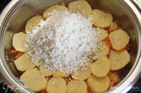 На картофель выложить слой промытого риса.