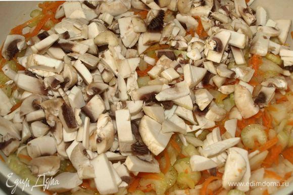 Грибы нарезать и добавить к остальным овощам. Томим 2 минуты.
