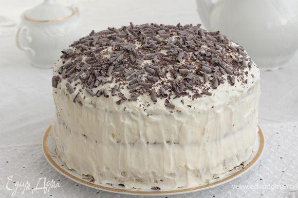 Сверху посыпать натертым шоколадом. Поставить в холодильник на 5-6 часов.