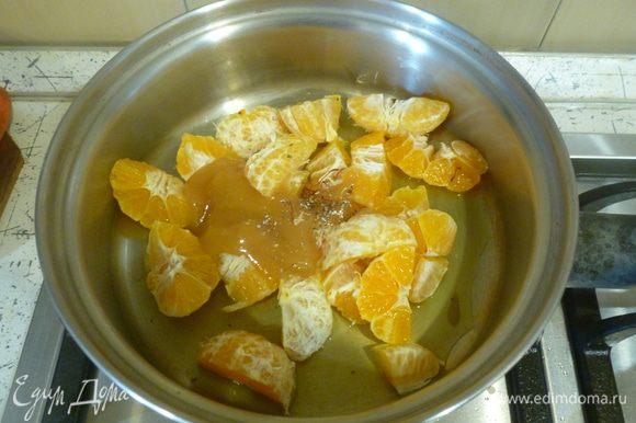 Мандарины очистить, нарезать на 4 части, сложить в сотейник с остальными ингредиентами для соуса. Проварить 15 минут до загустения.