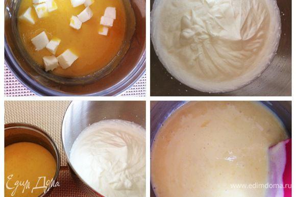 Влить сок лимона и перемешать. Затем добавить порезанное кубиками сливочное масло, пробить блендером до однородности. В чаше миксера взбиваем холодные сливки до мягких пиков (не в плотную пену). Следующий шаг это добавить часть сливок в остывший курд и перемешать лопаткой до однородной массы. Затем добавить остальные взбитые сливки. Лимонно-ванильный мусс готов.