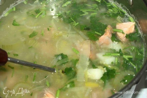 Добавить рыбу с петрушкой в калью. По вкусу добавить черный, молотый перец, лавровый лист и соль (если необходимо). Варим 1 минуту. Снимаем с огня и даем настояться 10 минут.