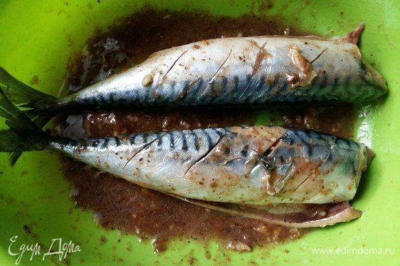 Польем рыбу маринадом и оставим на 15 минут.