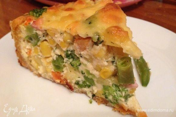 Готовим заливку для начинки: 5 яиц куриных, сливки 15% — 300 мл (можно сливок 200 мл плюс молоко 100 мл), сыр потереть 200-300 г, щепотка молотого мускатного ореха, зелень укроп или базилик по вкусу. Яйца взбить, соединить со сливками, чуть сыра для начинки и зелень, и пряности по вкусу.