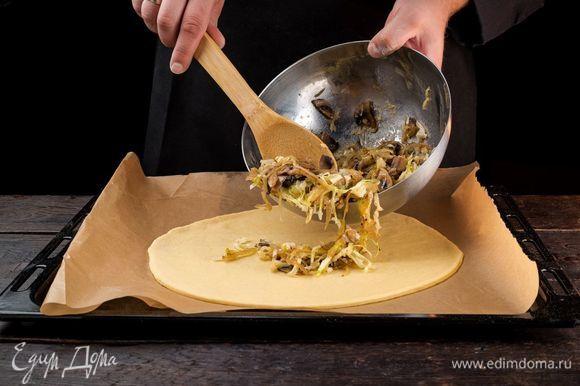 Готовое тесто разделите на 2 части. Одну тонко раскатайте и выложите на застеленный пекарской бумагой противень. Сверху на тесто выложите ровным слоем начинку.