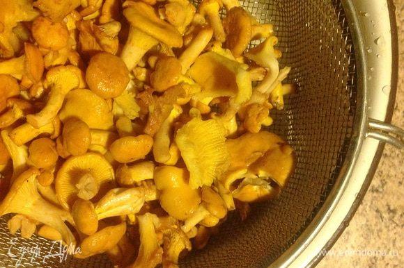 Очищенные и промытые грибы опускаем в кипяток, провариваем минут пять. Обязательно снимаем пену. Затем воду сливаем, а грибы на дуршлаг.