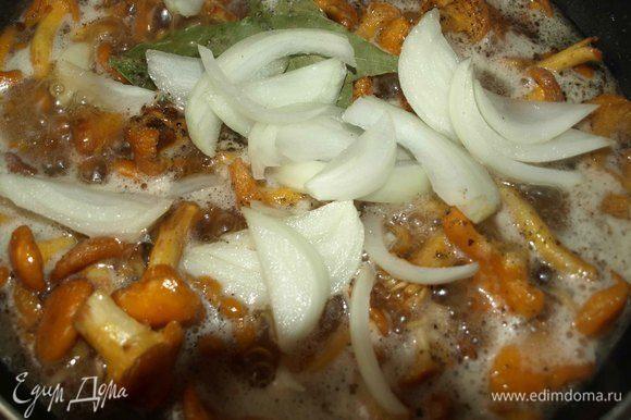 Добавляем соль, перец, лавровый лист, нарезанный перьями лук. Лук использовать небольшой.