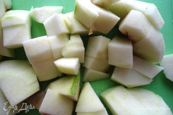 Яблоки очистить от кожуры и семян и тоже нарезать. Яблоки нужны кислые.