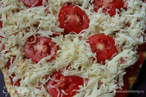 И вновь выложить слой сыра, не закрывая центральные помидоры. Затем немного лука полукольцами. (Забыла сфотографировать).