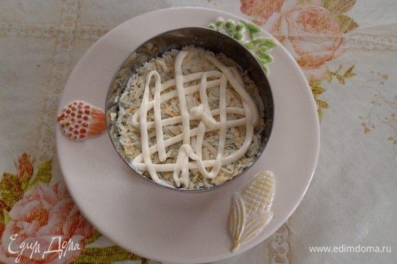 5 слой — яйца, затем майонез.