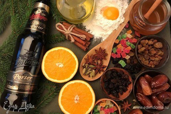 С апельсина снять цедру и отжать сок. Приготовить все ингредиенты.