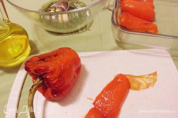 Затем очистить перцы от семян, кожицы и лишней влаги.