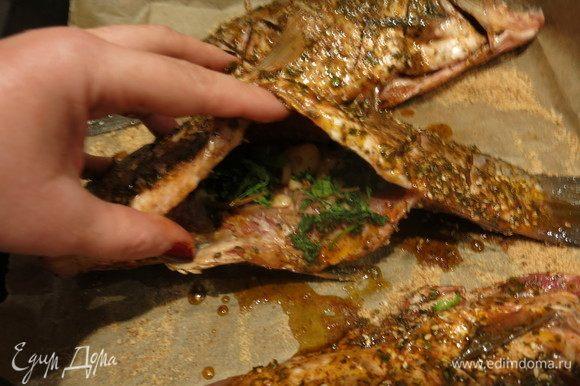 На противень насыпаем сухари панировочные, кладем внутрь каждой рыбы зелень и чеснок.