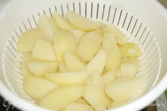 Картофель откинуть на дуршлаг и дать постоять, чтобы вся вода стекла.