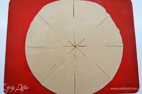 Тесто и начинка готовы, приступаем к формированию пиццы. Готовое тесто делим на 2 одинаковые части. Из каждой части раскатываем круглую лепешку, диаметром 40-45 см. При помощи ножа для пиццы делаем надрезы как показано на фото.