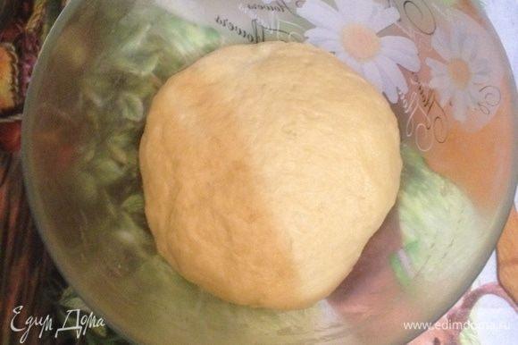 Скатайте тесто в шар,положите в миску и накройте пищевой пленкой. Оставьте подходить в теплом месте на 1 час.