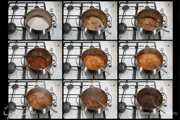 Ставим кастрюлю на большой огонь и начинаем нагревать сахар. Включаем вытяжку. Время от времени помешиваем. Ждем, когда поднимется «шапка». Если вас начнет смущать запах жженого сахара, не переживайте, все идет, как надо.