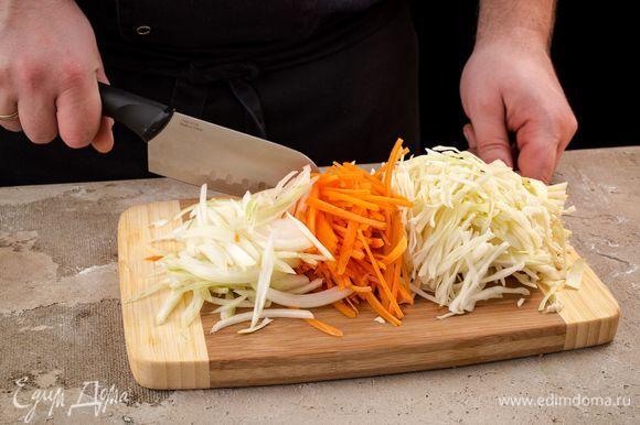 Нашинкуйте капусту, морковь и лук.