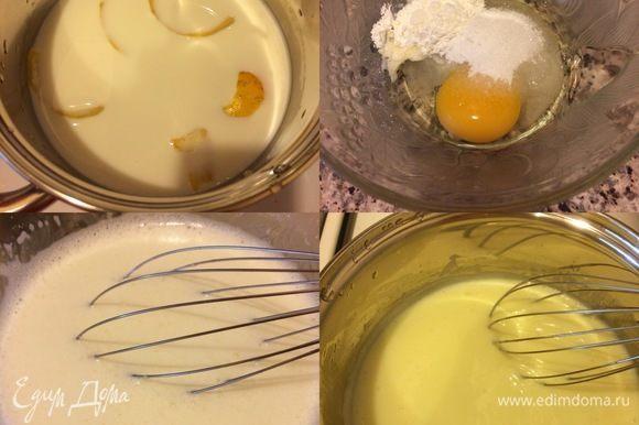 Крем. С лимона снять цедру (только желтую часть). Молоко налить в сотейник, добавить цедру и подогреть. В миске слегка взбить венчиком яйцо, сахар, крахмал, ванильный сахар. Из молока достать цедру. В яичную смесь тонкой струйкой влить горячее молоко, перемешать венчиком, поставить смесь на огонь и варить крем до загустения.