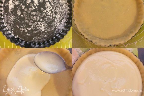 Форму (D=20 см) слегка смазать маслом и посыпать мукой. Аккуратно перенести тесто в форму. Распределить крем по тесту.