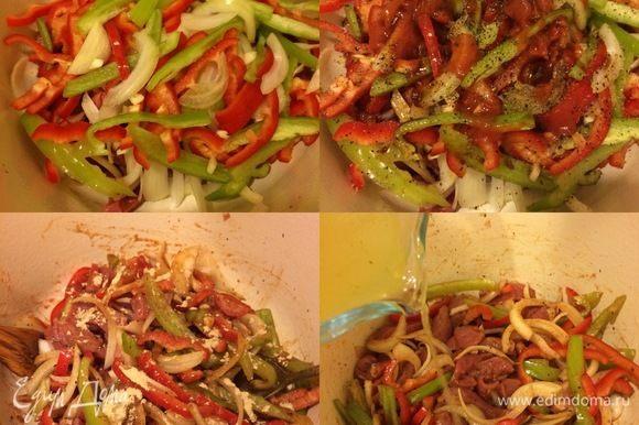 Добавить овощи, перец, соль (можно без соли, так как соевый и бульон уже содержат соль), пассату, оливковое масло, имбирь, чесночный порошок, соевый соус, сахар и перемешать.