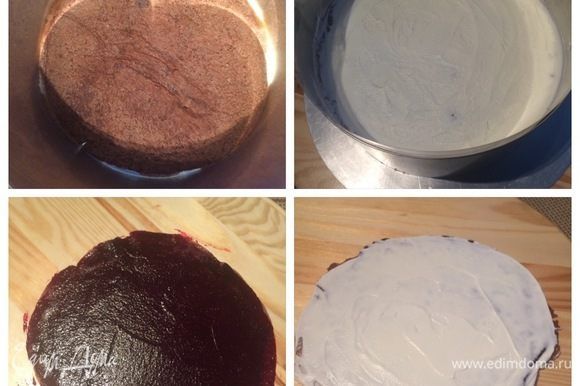 Сборка торта. Я собирала в кольце, предварительно проложив ацетатную пленку. Укладываем на дно формы блин, смазываем его творожным кремом. Сверху кладем другой блин и т.д. В середине торта я сделала прослойку из смородинового конфи, щедро нанеся его поверх крема и далее продолжила сборку торта, чередуя блины, промазанные только кремом. Оставшимся конфи я смазала 3 блина, свернула их в трубочку. Взбитым ганашем я промазала 2 блина и также свернула в трубочку.