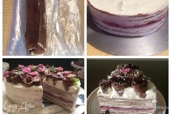 Обернула блины в пленку и отправила в морозилку, чтобы немного подмерзли. Так было проще нарезать блины для украшения торта. Если торт не украшать, смело можно все конфи использовать в прослойку торта, тогда это будет несколько слоев с конфи (по желанию). Собранный торт, отправляем в холодильник часов на 6. Вынимаем торт из кольца, покрываем поверхность и бока торта взбитым ганашем и украшаем нарезанными блинами, которые имитируют цветы.