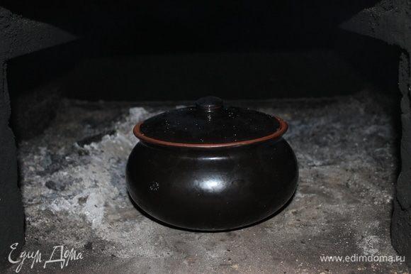 Накройте горшок крышкой и отправьте томится в теплую печь на полтора часа. Или же нагрейте духовку до 60⁰С. И томите в обычной домашней духовке.