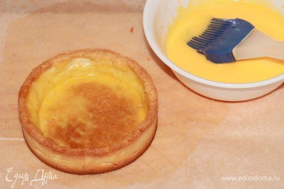 Затем выпекаем тарты 25 минут при температуре 160°С. Вынимаем их из колец и смазываем эмульсией очень тщательно боковинки и дно. Не жалея эмульсии. Отправляем в духовку минут на 5, чтобы яично-сливочная смесь прихватилась. Вынимаем из духовки и даем полностью остыть.