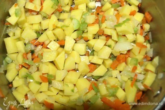 Картофель мелко нарезать и добавить в кастрюлю. Потомить с овощами 1 минуту.