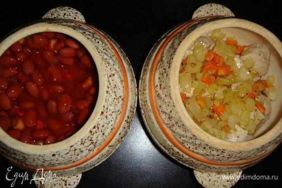 На мясо выложить овощи, затем красную фасоль ТМ «Фрау Марта» в томатном соусе вместе с соусом.
