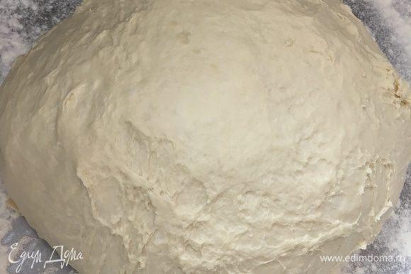 Через 20 минут подошедшее тесто выложить в форме шара на щедро посыпанную мукой рабочую поверхность.