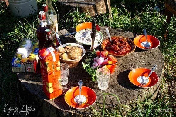 Пока шампурчики на углях, готовим стол. Вот то, что на фото, у приятеля моего в деревне, 200 км от Екатеринбурга, так они на огороде оставили срез огромного старого дерева. Это придает, конечно, особую атмосферу посиделкам. Да! Тут видны на «столе» грузди классика (есть рецептик) и напиток «Несмеяновка» (тоже в рецептах), ну, и овощи свежие. Ну, и тот самый армянский соус. Я лишь к тому, что все собранное руками и ими же приготовленное — это делает шашлык особенным!