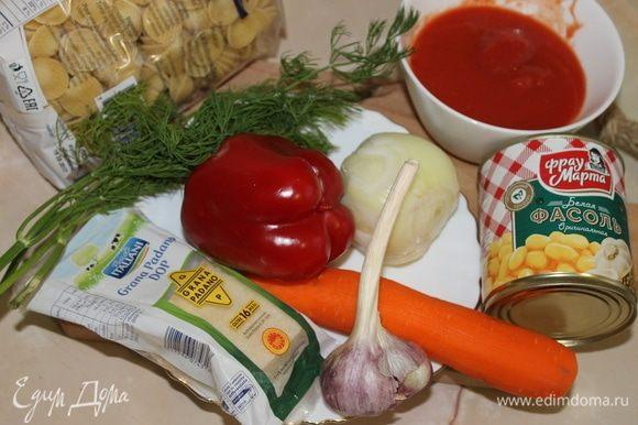 Для приготовления блюда подойдет любая короткая паста из твердых сортов пшеницы. Фасоль я использовала белую «Фрау Марта». Но можно использовать любую, красную, в томатном соусе, главное — фасоль.