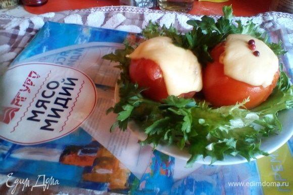 По прошествии 15 минут мы получаем некалорийный и вкусный ужин. Листья салата фриллис добавят приятности глазу и хрусткой сочности вкусу.