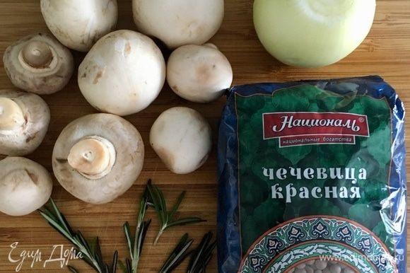 Начнем с приготовления моей любимой чечевицы с грибами. На три порции отмерить стакан высококачественной красной чечевицы ТМ «Националь». Почистить одну белую луковицу среднего размера и мелко порубить. Грибы помыть (у меня шампиньоны), обсушить и нарезать. Веточка свежего розмарина для аромата.