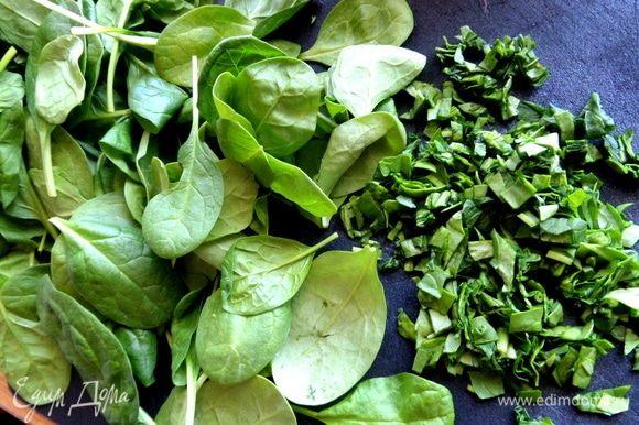Листья шпината тоже нарезать мелко. Они нейтральные по вкусу.