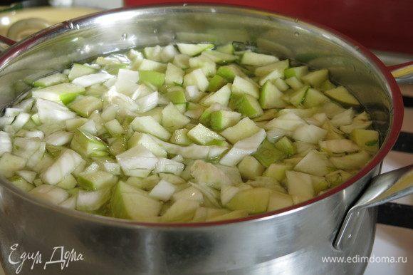 Заливаем яблоки и фенхель водой, 2 литра — суп жидковатый, если довести объем до двух литров — густой. Варим 15 минут.