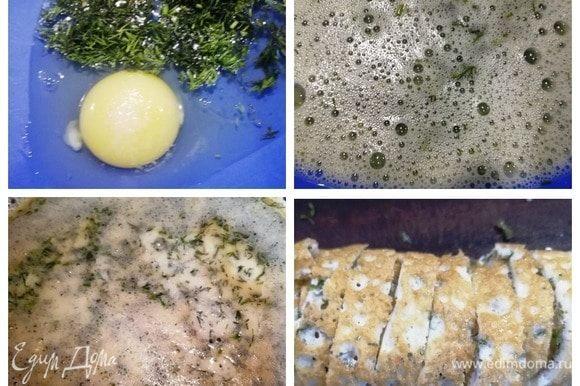 В миску разбиваем яйца, солим, добавляем нарезанный укроп. Слегка взбиваем венчиком. Выливаем яичную смесь в сковороду, смазанную кунжутным маслом. Жарим блин на среднем огне под крышкой с одной стороны. Слегка остужаем, сворачиваем рулетом и нарезаем. Готово.