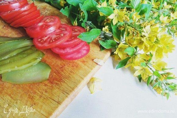 Огурец и помидор нарезаем кольцами и пластинами.