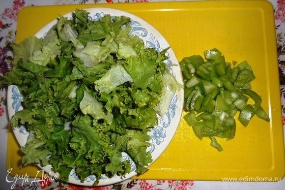 Листья салата и перец вымыть, обсушить. Салатные листья порвать руками. У перца удалить семена и нарезать его небольшими кусочками.