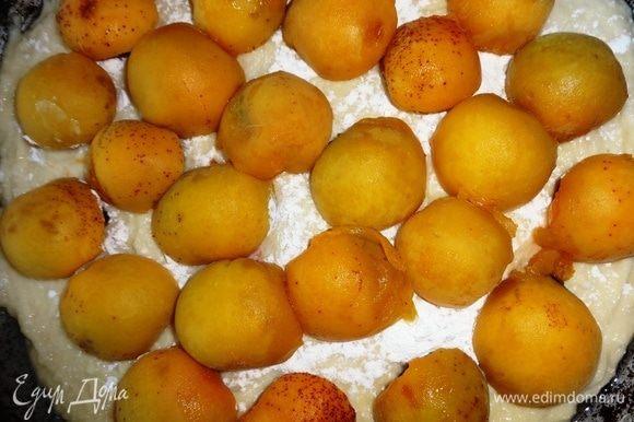 Каждую ягоду черешни накрыть половиной абрикоса. Абрикосы тоже укладывать не слишком плотно, оставляя между ними небольшое пространство.