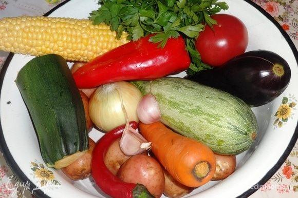 Подготовить необходимые овощи для приготовления рагу.