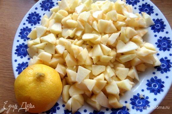 Яблоки нарезать и сразу полить соком лимона, перемешать и так чистить дальше яблочки.